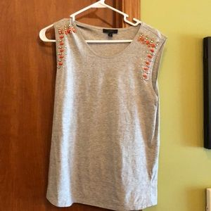 J. Crew grey tank with jewel detail on shoulders M